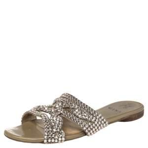Gina Beige Leather Crystal Embellished Loren Flat Sandals Size 38