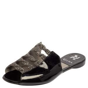 Gina Black Patent Leather Embellished Flats Size 38
