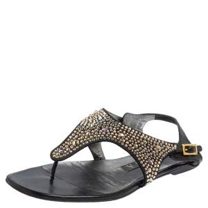 Gina Black Leather and Suede Crystal Embellished Thong Flat Sandals Size 37.5