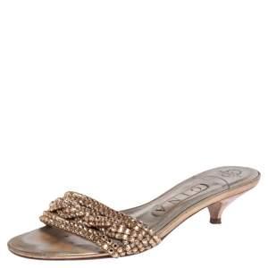 Gina Gold Leather Crystal Embellished Kitten Heel Slides Size 36.5