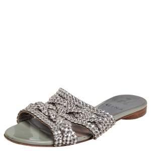 Gina Grey Leather Embellished Slide  Sandals Size 36