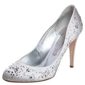 Gina Silver Satin Audrey Crystal Embellished Pumps Size 40.5