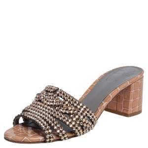 Gina Beige Croc Embossed Patent Leather Rodeo Crystal Embellished Sandals Size 38