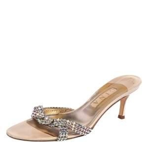Gina Beige Leather Crystal Embellished Open Toe Sandals Size 40
