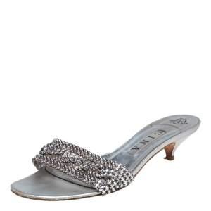 Gina Silver Leather Crystal Embellished Kitten Heel Slide Sandals Size 39