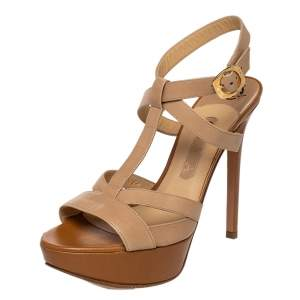 Gina Beige Leather Strappy Ankle Strap Sandals Size 39