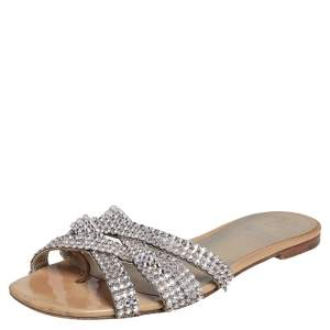 Gina Cream Patent Leather Crystal Embellished Crisscross Slide Flats Size 40