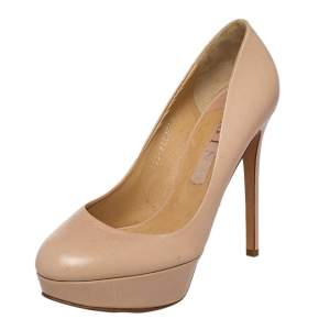 Gina Beige Leather Round Toe Platform Pumps Size 39.5