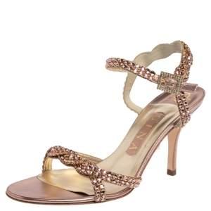Gina Metallic Pink Leather Campari Crystal Embellished Ankle Strap Sandals Size 37.5