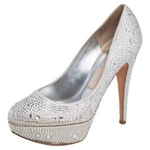 Gina Silver Satin Crystal Embellished Platform Pumps Size 38