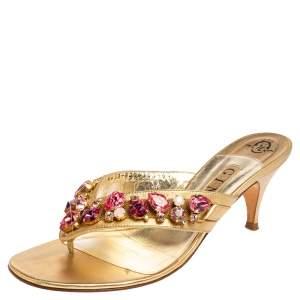 Gina Gold Leather Crystal Embellished Slide Sandals Size 39.5