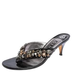 Gina Black Patent Leather Crystal Embellished Slide Sandals Size 39.5