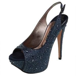 Gina Navy Blue Satin Crystal Embellished Platform Peep Toe Slingback Sandals Size 38.5