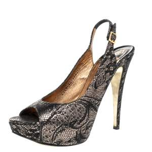 Gina Black Lace Peep Toe Slingback Pumps Size 40