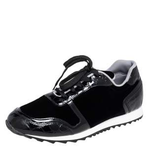 Gina Black Velvet and Croc Embossed Patent Leather Low Top Sneakers Size 40