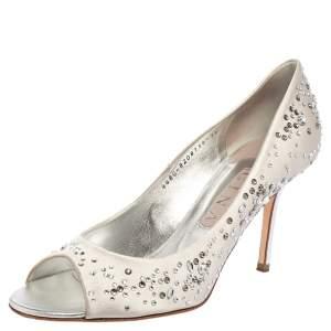 Gina Light Grey Satin Crystal Embellished Dusk Open Toe Pumps Size 40.5