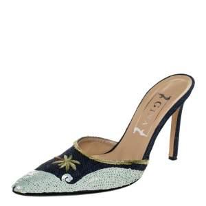 حذاء مولز جينا مقدمة مدببة ترتر دي مطرز أزرق مقاس 37.5