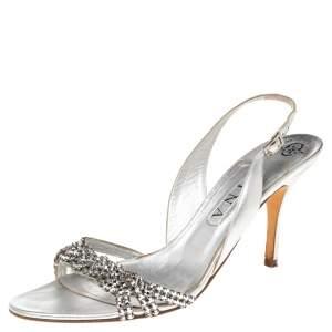 Gina Silver Crystal Embellished Naomi Slingback Sandals Size 41