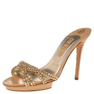 Gina Gold Crystal Embellished Leather Zeta Platform Slide Sandals Size 40.5
