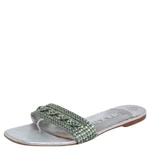 Gina Silver Leather Crystal Embellished Athena Slides Size 41