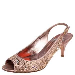 Gina Metallic Pink Satin Crystal Embellished Slingback Sandals Size 39