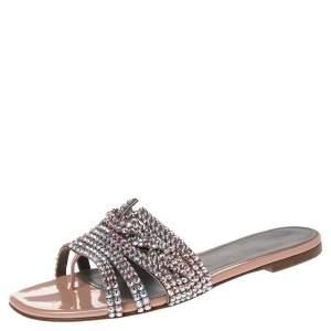 Gina Rose Gold Leather And Crystal  Embellished Dakota Slide Sandals Size 38.5