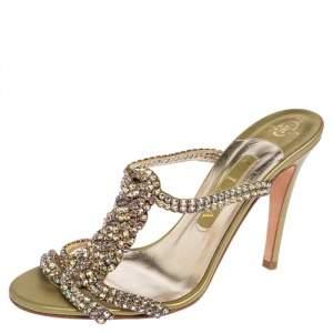 Gina Metallic Green Leather Crystal Embellished T Strap Slide Sandals Size 38.5