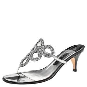 Gina Silver/Black Leather Crystal Embellished Orion Slide Sandals Size 39