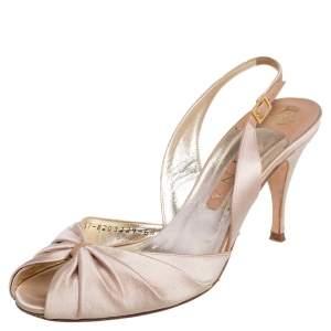 Gina Beige Satin Peep Toe Slingback Sandals Size 39.5
