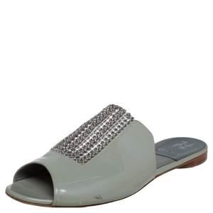 Gina Grey Patent Leather Crystal Embellished Slide Flats Size 40