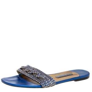 Gina Blue Leather Embellished Thong Flat Sandals Size 39.5
