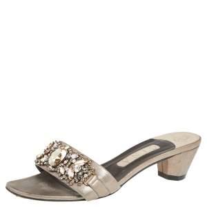 Gina Metallic Grey Leather Embellished Slide Sandals Size 38