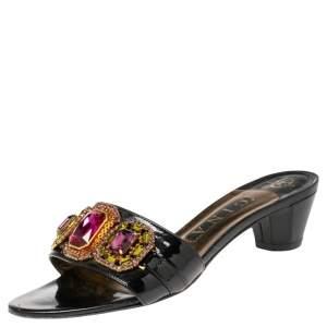 Gina Black Patent Leather Crystal Embellished Slides Sandals Size 38