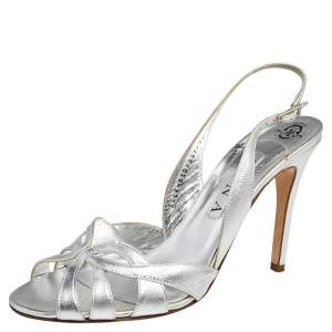 Gina Metallic Silver Leather Slingback Sandals Size 40.5