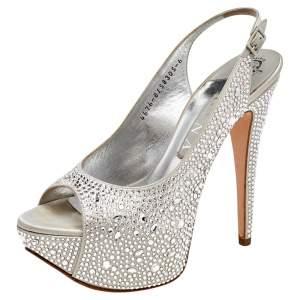 Gina Silver Crystal Embellished Satin Platform Peep Toe Slingback Sandals Size 39