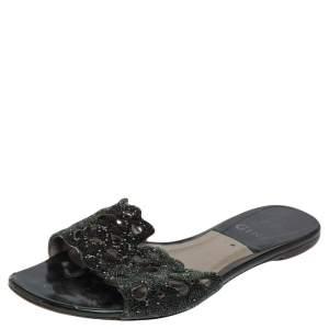 Gina Silver Green Leather Crystal Embellished Flat Slides Size 38