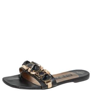 Gina Black Leather Crystal Embellished Flat Slides Size 38
