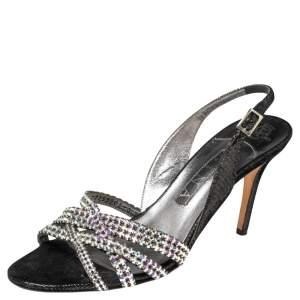 Gina Black/Silver Textured Suede Cross Crystal Embellished Slingback Sandals Size 39