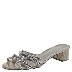 Gina Green Croc Embossed Patent Leather Crystal Embellished Block Heel Slide Sandals Size 40