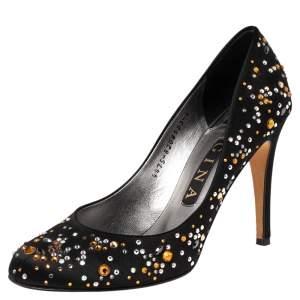 Gina Black Crystal Embellished Satin Round Toe Pumps Size 39