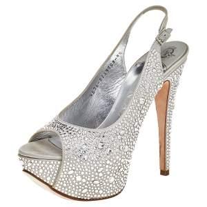 Gina Grey Crystal Embellishment Satin Open Toe Sling Back Sandals Size 37.5