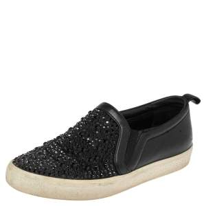 Gina Black Leather and Suede Gioia Crystals Slip On Sneakers Size 36