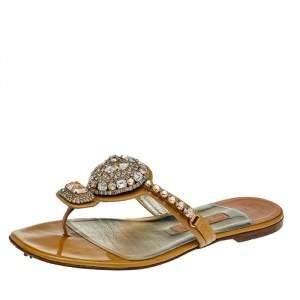Gina Beige Patent Leather Crystal Embellished Flat Sandals Size 38