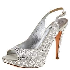 Gina Silver Satin Crystal Embellished Platform Peep Toe Slingback Sandals Size 39