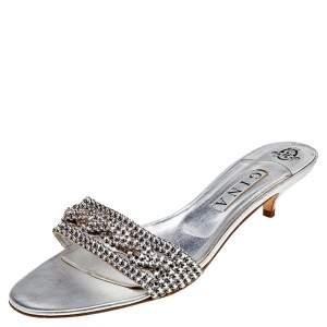 Gina Silver Leather Crystal Embellished Kitten Heel Slide Sandals Size 41