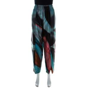 Giorgio Armani Multicolor Silk Satin High Waisted Pants M