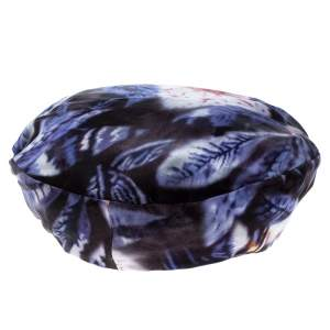 Giorgio Armani Multicolor Abstract Leaf Print Silk Satin Beret L