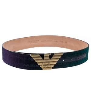 Giorgio Armani Metallic Ombre Blue Logo Belt 85CM