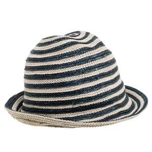 Giorgio Armani Ivory & Green Striped Straw Bucket Hat
