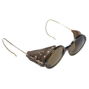 Giorgio Armani Brown/ Olive Green AR8017RZ Leather Retro Motorcycle Sunglasses
